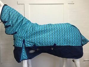 AXIOM 1200D R/S BLUE CHECK/NAVY 300gm PADDOCK COMBO HORSE RUG - 6' 0
