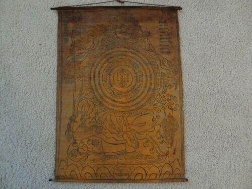 ANTIQUE MONGOLIAN BUDDHIST WOODBLOCK  PRINT  ON COTTON (WHEEL OF VAISRAVANA )