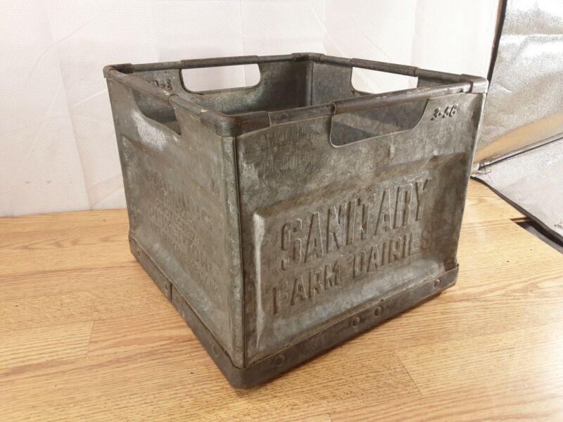 Vintage Sanitary Metal Dairy Farm Milk Crate Pinkerton Detective Warning