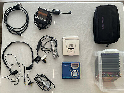 Bundle Lot Two Sony MD Minidisc Walkman Players MZ-NF610 MZ-E33 Case Discs Power