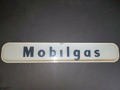 "Vintage Mobilgas Glass Gas Pump Sign ""NO DOT"" On The I ERROR? 21"" x 3 5/8"""