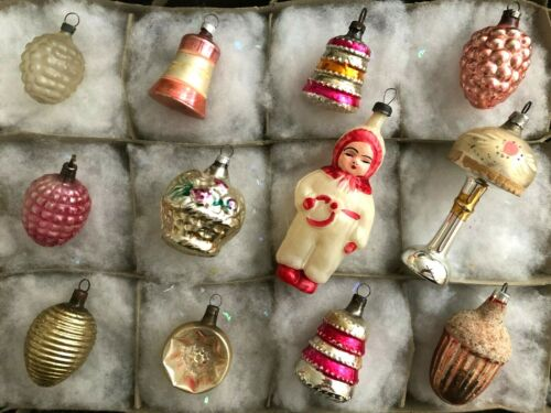 12 Antique Glass Feather Tree Figural Christmas Ornaments 1930s-1940s Germany