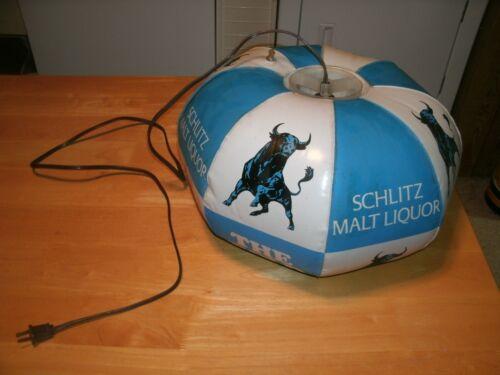 VINTAGE Schlitz Malt Liquor bull inflatable hanging beer bar light the bold one