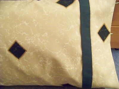 (TRAVEL SIZE  PILLOW CASE LT TAN MARBLED/ DARK GREEN BAND/ /CUFF #7075)
