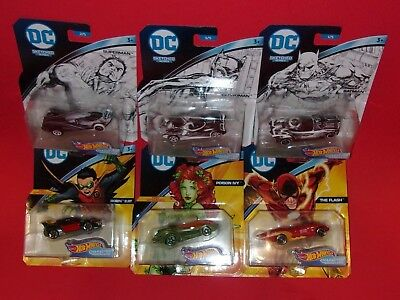 Hot Wheels DC CHARACTER CARS Sketched Harley Martian Poison Ivy Batman Catwoman