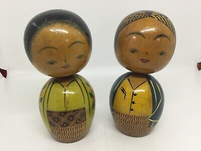 TWO VINTAGE JAPANESE KOKESHI NODDER WOBBLE BUBBLE HEAD WOOD DOLLS KOMONA GEISHA