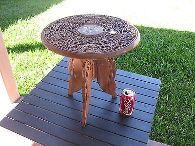 """VINTAGE INDONESIA WOOD HAND CARVED TEAK SIDE TABLE WITH BRASS INLAY 15""""X15"""" TALL"""