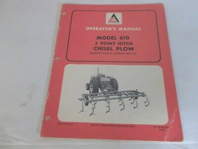 Allis-chalmers 610 3 Point Hitch Chisel Plow Operators Manual