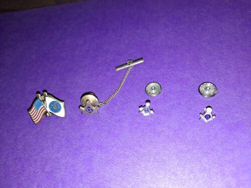 Lot of 4 Masonic Freemason Lapel Pins Tie Tacks Sterling Gold!  MAKE OFFER!