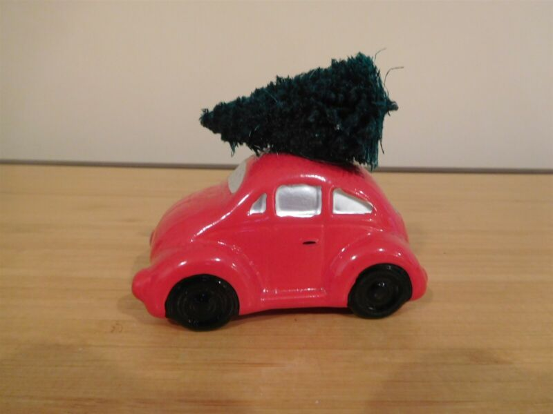 Dept 56 Snow Village - Red Volkswagon w/ Tree on Roof - Free Ship