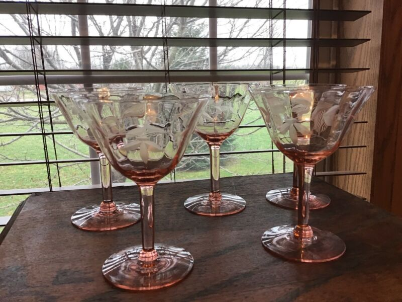 5 Grey Cut  Floral Optic Paneled Pink Vintage 4 Oz Crystal Wine Glasses