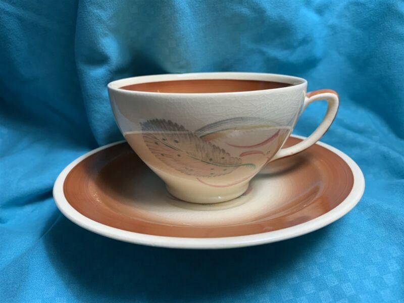 Susie Cooper Grey Feather 1936 Tea Cup & Saucer
