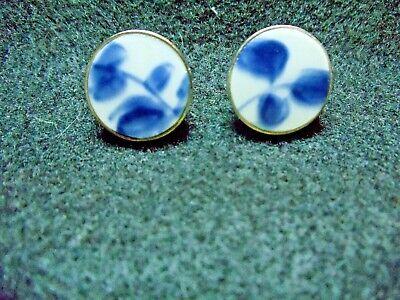 Vintage Ming Dynasty Blue & White Porcelain Pottery Shard screw-back Earrings
