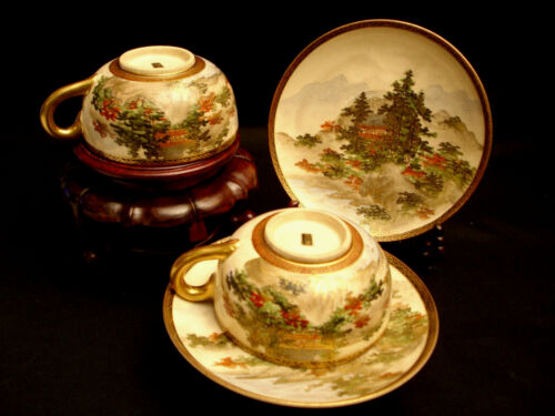 MARKED Shozusan JAPANESE MEIJI PERIOD SATSUMA TEA CUP & SAUCER SET OF 2