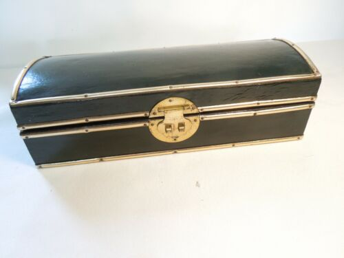 Vintage Large Wood Trinket Storage Box Black w/ Brass Trim & Lockable Clasp