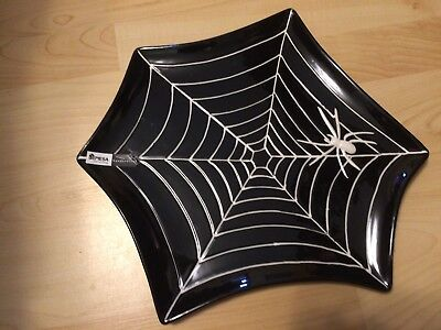 Black And White Halloween Table Decorations' (BLACK WHITE SPIDERWEB SPIDER PLATE PLATTER HALLOWEEN DECOR MESA BRAND)