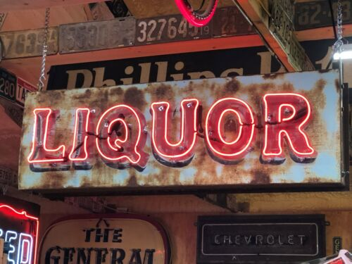 OLD Vintage LIQUOR Double Sided NEON SIGN Antique PATINA Pub BAR Mancave TAVERN