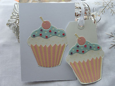 ♥ Handmade Cupcake Card with ♥Matching Cupcake Gift Tag ♥ Birthday Thankyou Card
