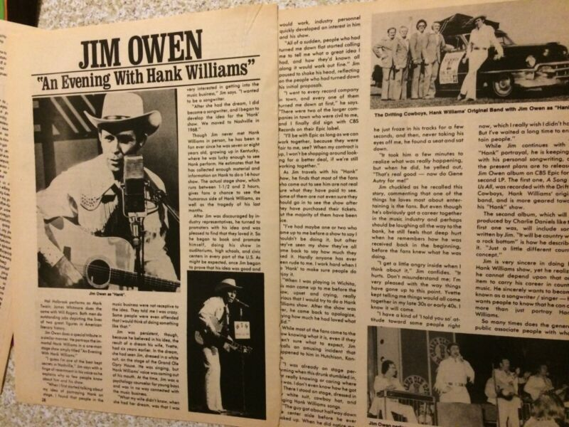Hank Williams, Two Page Vintage Clipping