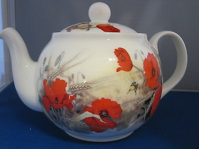 POPPY from Roy Kirkham. made  England 6 CUP TEA POT.Fine Bone China