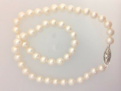 - Mikimoto Sterling Akoya Pearl Single Strand Necklace // 887-00992 Estate