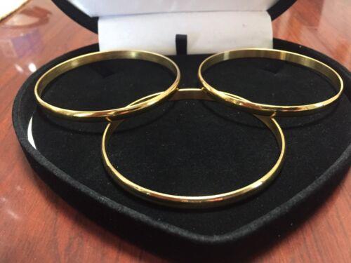 3 14K YELLOW GOLD  CLAD  4MM BANGLE BRACELETS 8IN NO BEND NO DENT + BONUS!