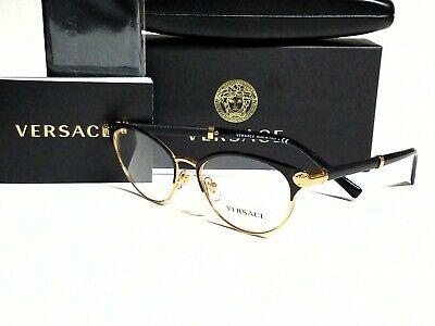 New Authentic VERSACE VE1259Q 1443 Black/Gold/Demo Lens 52/17/140 (Versace Ladies Glasses)