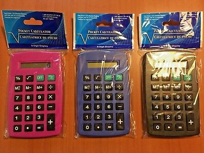 LOT of 24 POCKET CALCULATORS (Battery Included) Pink & Purple & Black (8 each)