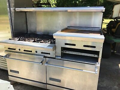 Commerical American Range 6 Burner Stove With 2 Ovens And Griddle