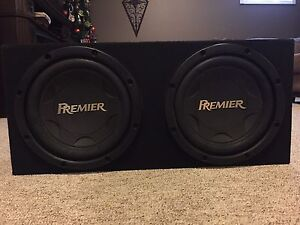 """Two 12"""" pioneer premier subwoofers in box"""