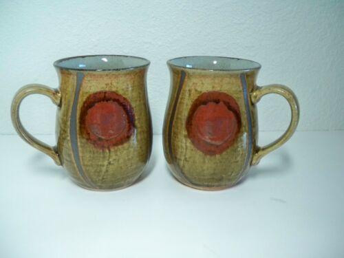 Pair 2 Vintage NEW Otagiri Mid-Century Abstract Pattern Stoneware Mugs Japan