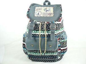 Tribal Printed Canvas Backpack SchoolBag SportingTravel Hiking Rucksack Gray