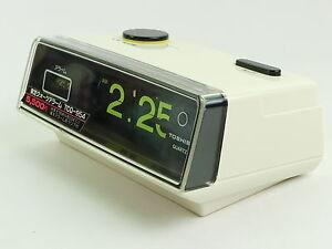 Toshiba battery alarm flip clock white White flip clock