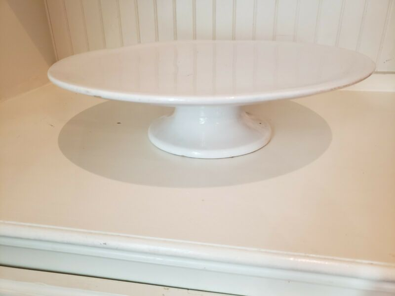Large Antique English White Ironstone Cake Stand Pedestal