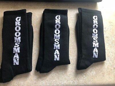 GROOMSMAN mens socks, black with white writing, one size, pack of - Groomsman Socks
