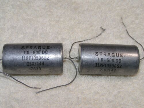 TWO Sprague 1uF 600V Oil Capacitors - Tested