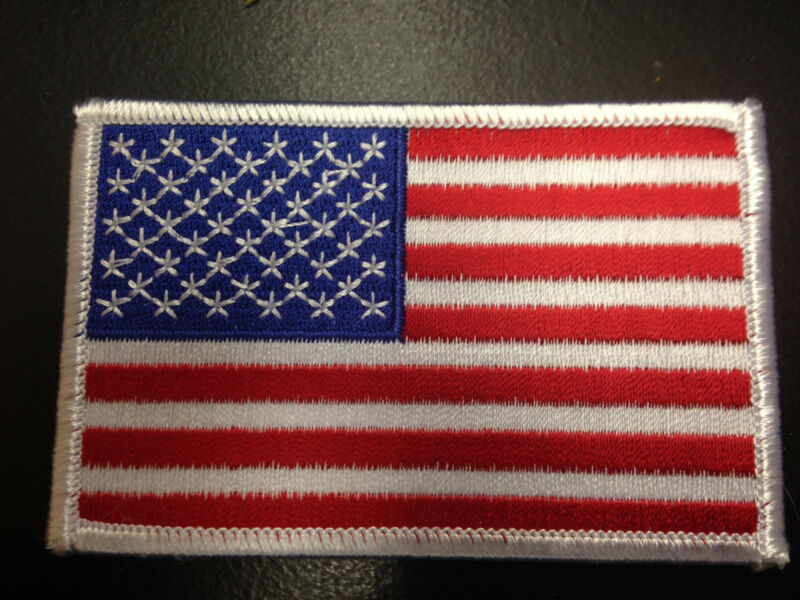 "UNITED STATES AMERICAN FLAG WHITE BOARDER 3.5"" X 2.25"" EMBROIDERED PATCH"