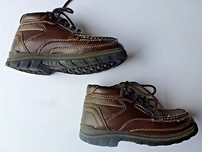 Boy's Youth 2M 2 Medium HUSH PUPPIES Brown Boots Lace-Up Casual Shoes EUC