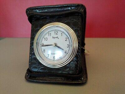 Vintage / Retro Travel Alarm Clock By Segnale, Qartz,  Brown, Mock Croc, WORKING