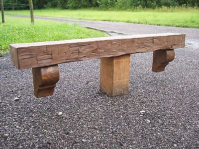 """Four Foot Hand Hewn Rustic Barn Beam Fireplace Mantel Chunky 6"""" by 8"""" w/ Corbels"""