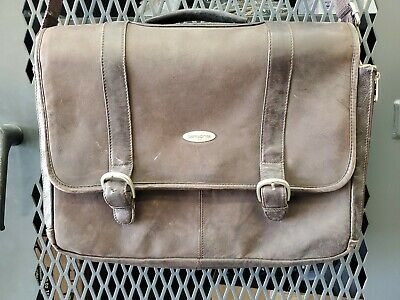 "Samsonite Mens Flap Over Messenger Bag Laptop Brown Leather 18"" L8A"