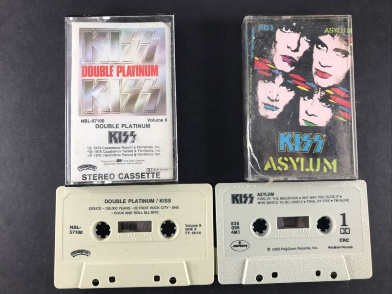 KISS 3 Cassette Tape Lot Rock Asylum & Double Platinum Volume II