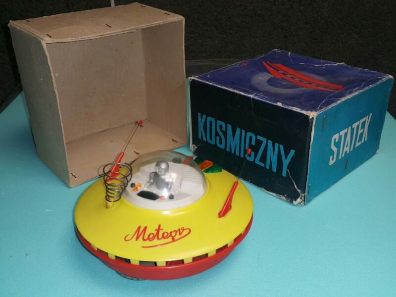VINTAGE SPACE TOY SAUCER METEOR 70s BATT. OPERATED ORIGINAL BOX POLAND PALARD