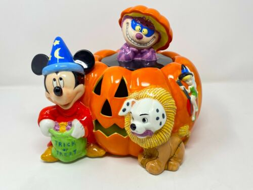Disney Halloween Cookie Jar Jack-o-Lantern Pumpkin - Mickey, Cheshire, Dalmatian