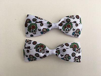 Day of the Dead Skulls Hair Bows with Alligator Clips](Day Of The Dead Hair)