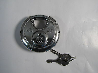 Public Storage   127 Stainless Steel Disc Padlock 2 3 4    70Mm W  Keys New