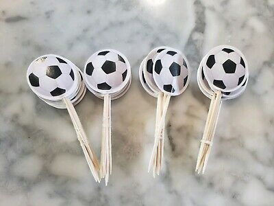 Soccer Futbol Sports Cupcake Toppers Kids Birthday Team Party Supplies 24pcs - Soccer Cupcakes