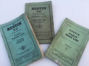 Austin A40 parts lists and price lists from 1949 and 51