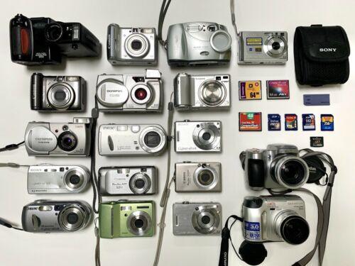 HUGE Digital Camera LOT! 18 cameras + 9 memory cards + Sony case
