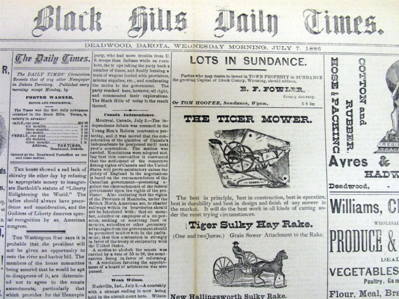 1886 Dakota Territory newspaper with a long detailed description of DEADWOOD DT